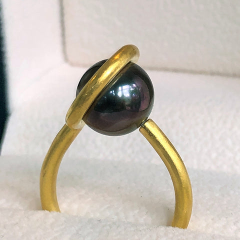 The Philippe Spencer Halo Set Black Tahitian Pearl Ring in 20K Gold