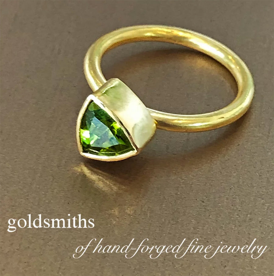 The Philippe Spencer Tri Faceted Peridot Ring