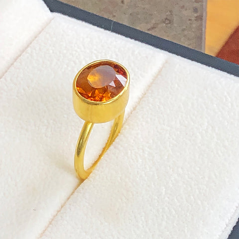 The Philippe Spencer Oval Citrine Bezel Set Statement Ring