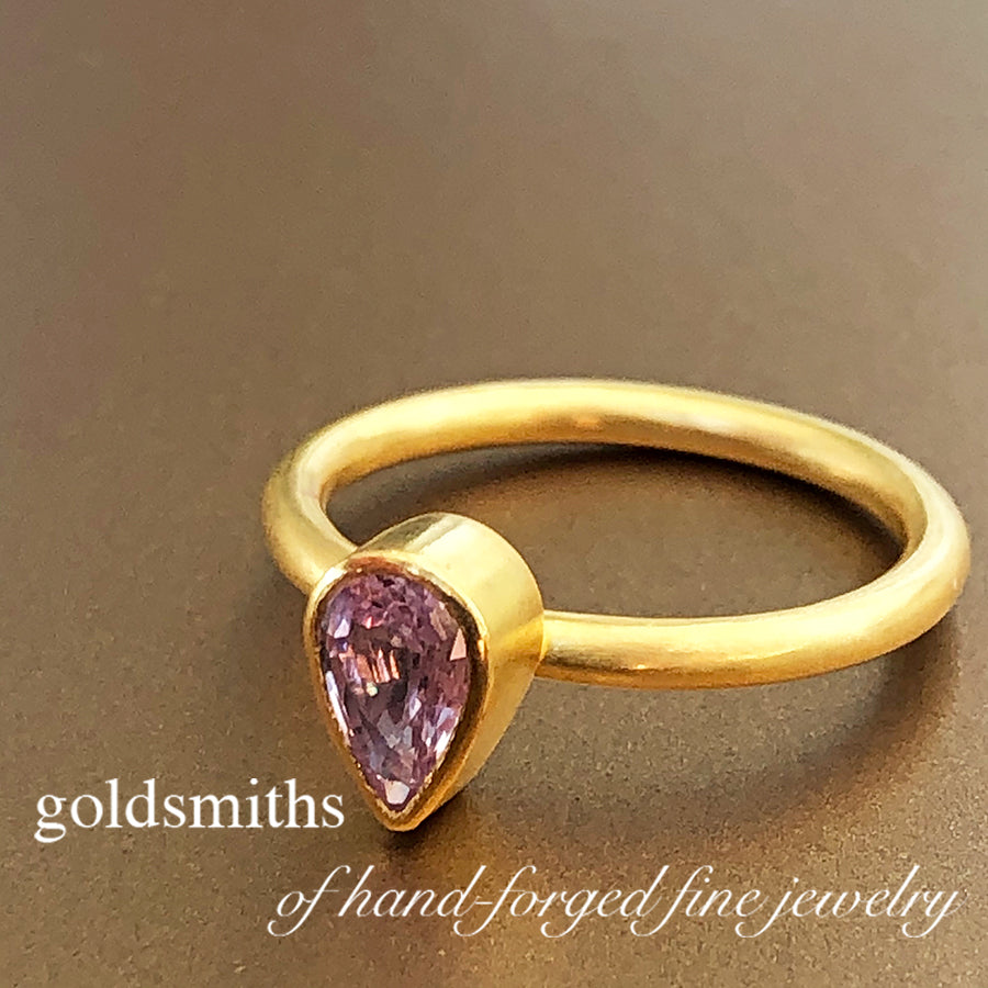 The Philippe Spencer Pink Teardrop Sapphire Ring