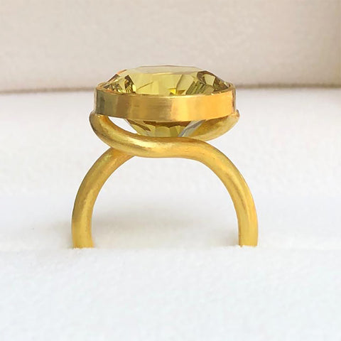 The Philippe Spencer Round Celadon Citrine Statement Ring