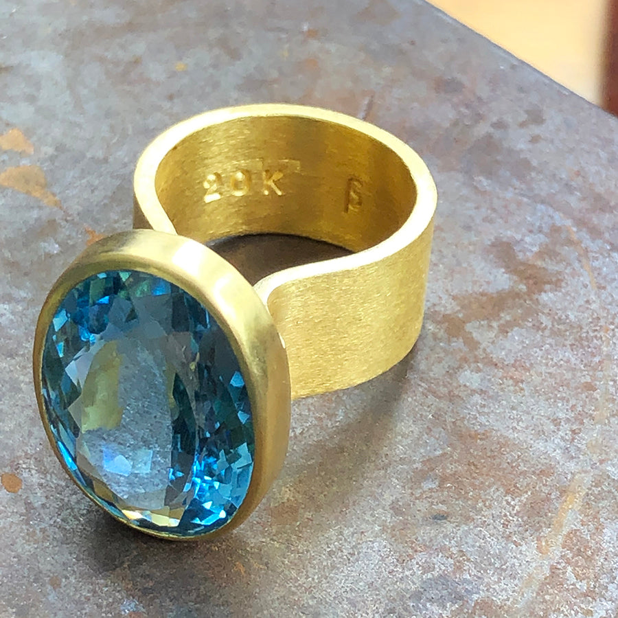 The Philippe Spencer Oval London Blue Topaz Statement Ring
