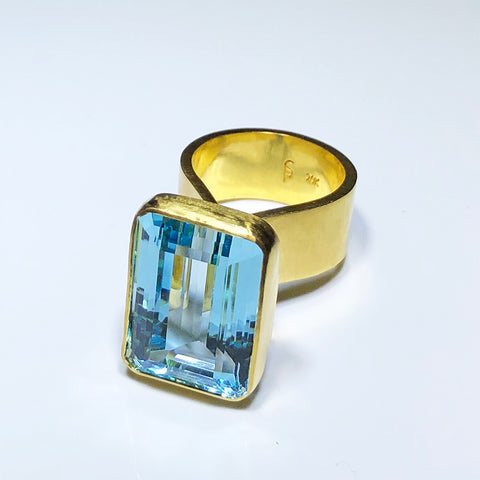 The Philippe Spencer Emerald Cut Aquamarine Statement Ring in 20K Gold