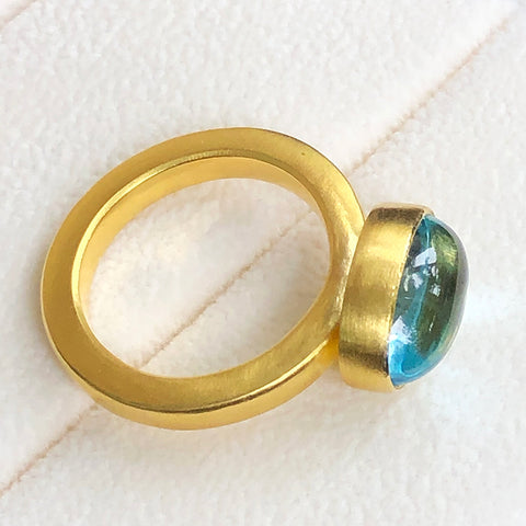 The Philippe Spencer Oval Aquamarine Cabochon Statement Ring
