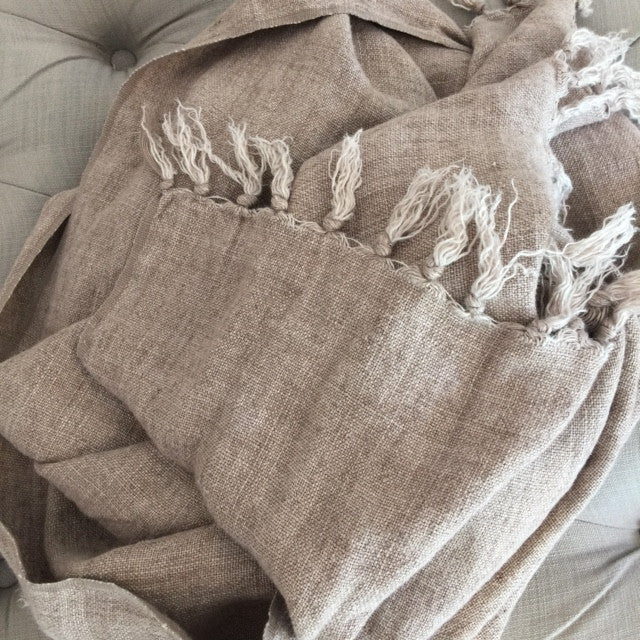 Salmon Washed Linen Throw