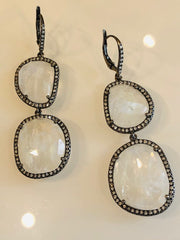 The Moonstone, Diamond  & Rhodium Earrings