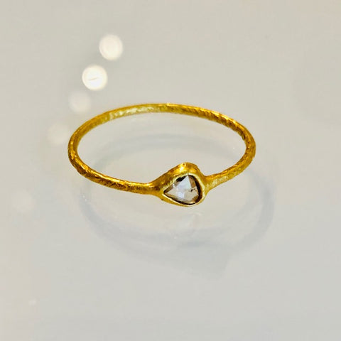 The Brushed Gold and Rose Cut Diamond Ring