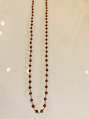 The Garnet and Gold Long Necklace