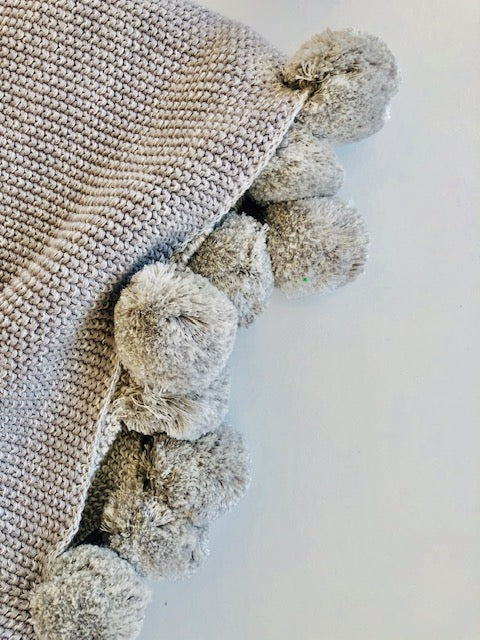 The Grey Cotton Pompom Throw