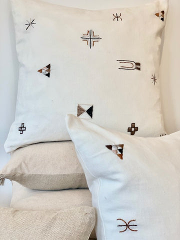 The Small Natural Embroidered Moroccan Pillow