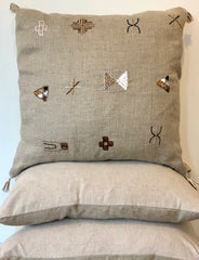 The Square Natural Embroidered Moroccan Pillow