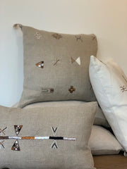 The Square White Embroidered Moroccan Pillow