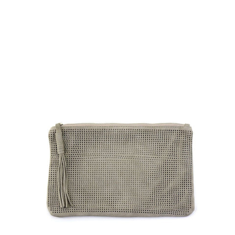 Monserat de Lucca Orado Perforated Suede Pouch Large Taupe