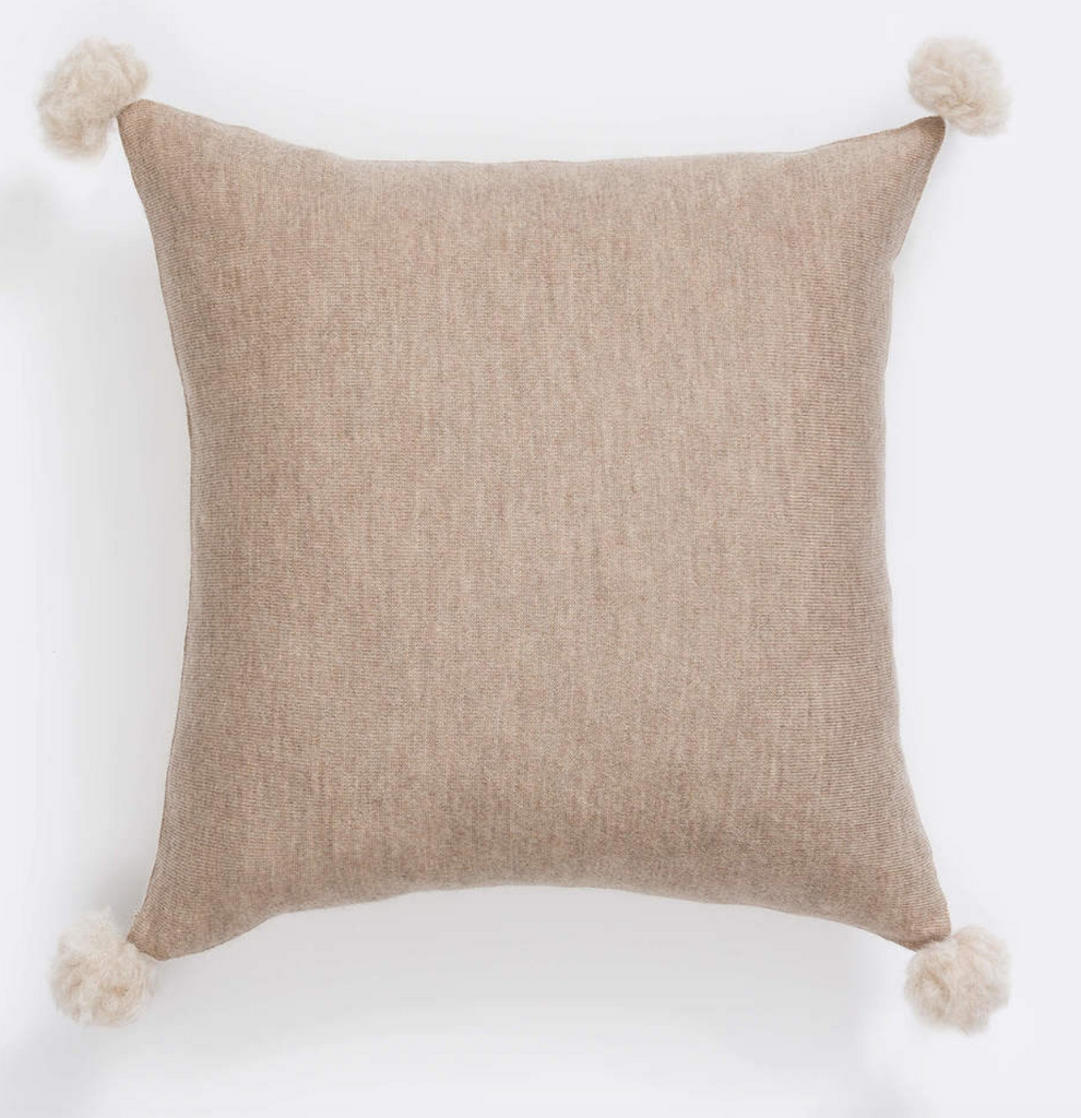 The Alpaca Cushion with Soft Pompoms