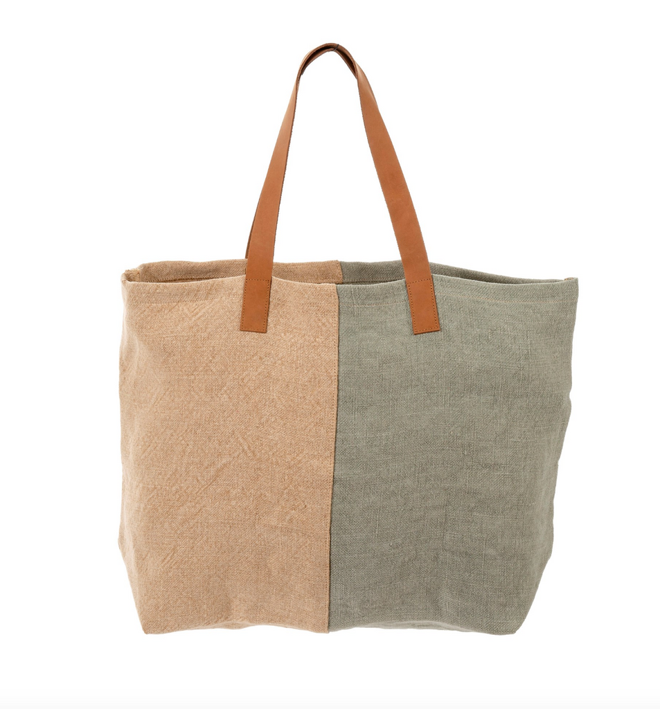 The Colorblock Soft Jute Tote