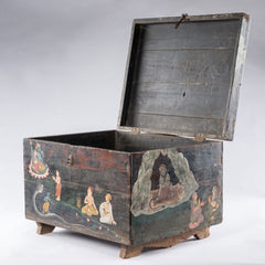 Antique Temple Trunk, Krishna with the Trimurti