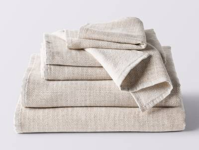 Coyuchi's Catalina Towels,  6 Piece Set in Oatmeal Heather