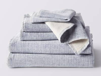 Coyuchi's Organic Catalina Towels,  6 Piece Set in Blue