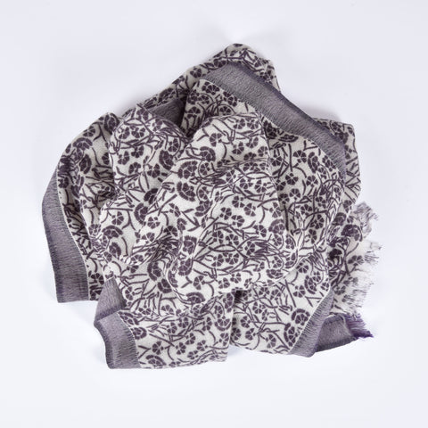 Dark Purple Flower Print Cashmere Scarf