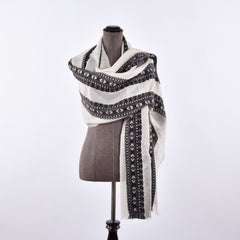 black and white himalayan cashmere scarf