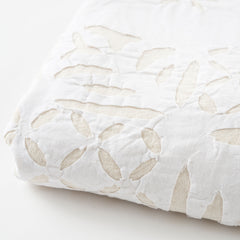 white Cut Work Bedspread edge view