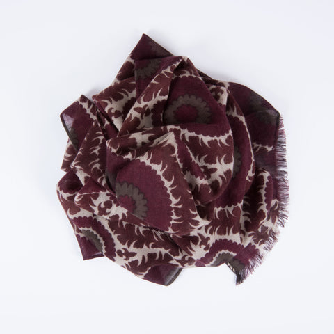 Rolled Edge Suzani Print Cashmere Scarf