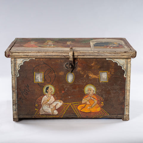 Antique Temple Trunk, Seated Wise Men
