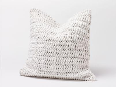 Coyuchi's Organic Woven Rope Pillow and insert, in Alpine White