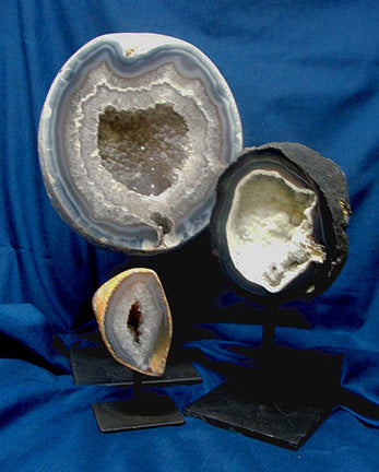 Agate Geode on Metal Stand