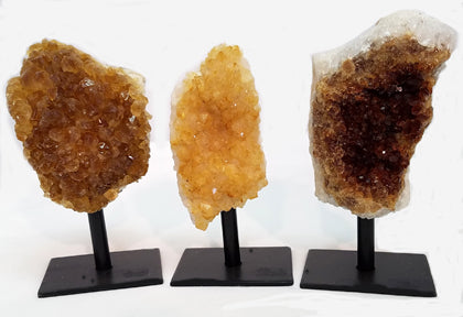 Unpolished Citrine Cluster on Metal Stand