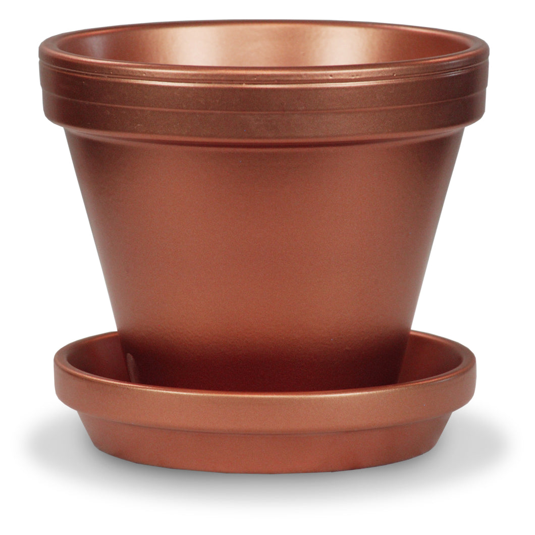 Powder Coated Terra Cotta Pot and Saucer