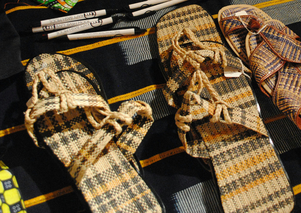 Straw striped sandals - Kapy Bash Mode