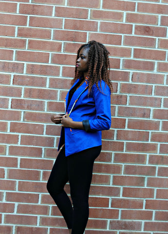 Blue Blazer with Fabric Lining - Kapy Bash Mode