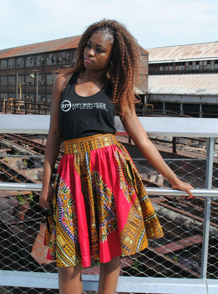 High Waisted Flared Midi Skirt - Kapy Bash Mode