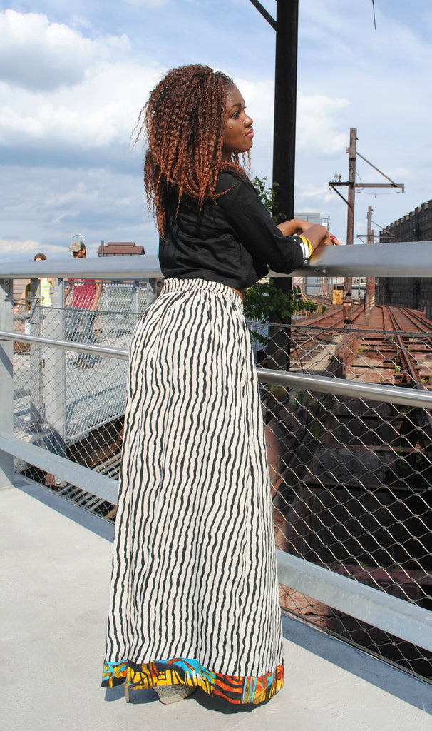 Black Long Sleeve & Chiffon Stripped Skirt Set - Kapy Bash Mode