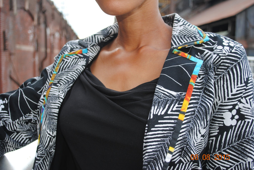 Palm Tree Blazer with Fabric Lining