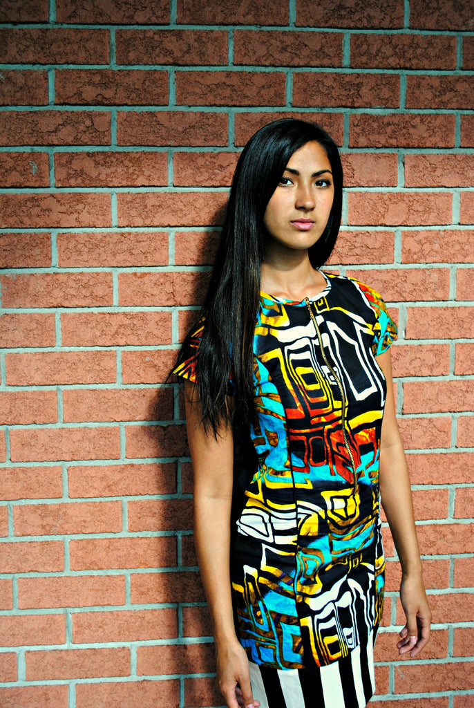 Short Sleeve Multi Colored Dress - Kapy Bash Mode