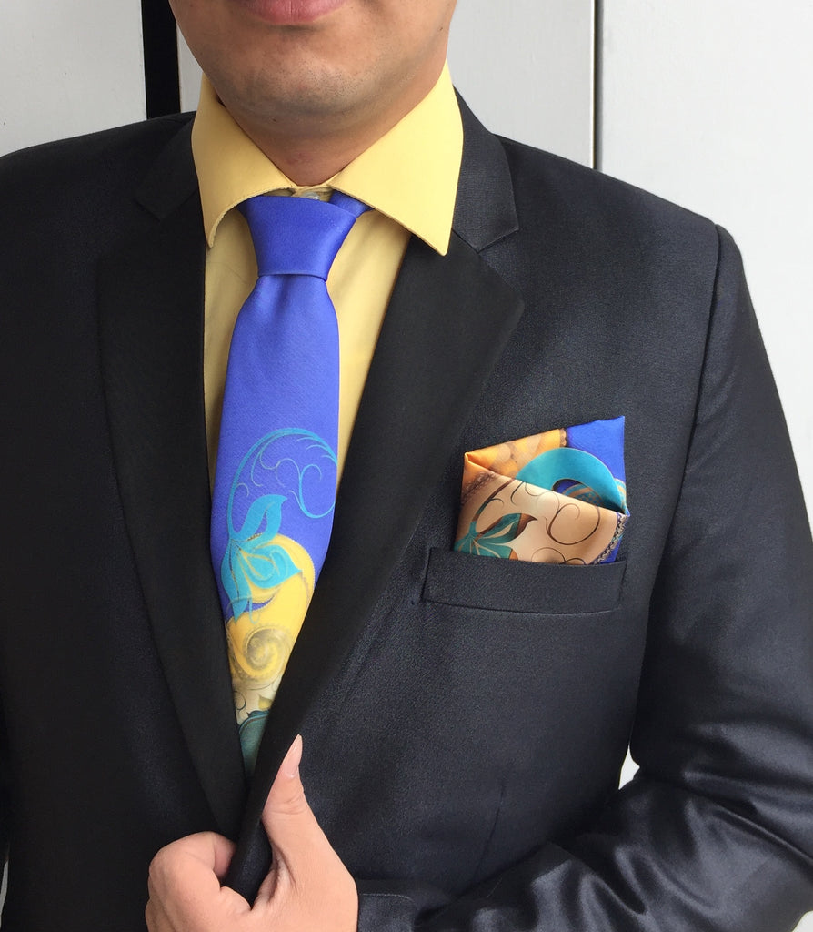 Turquoise SATIN TIE AND HANKY SET - Kapy Bash Mode
