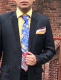 Cobalt Satin Tie and Hanky Set - Kapy Bash Mode
