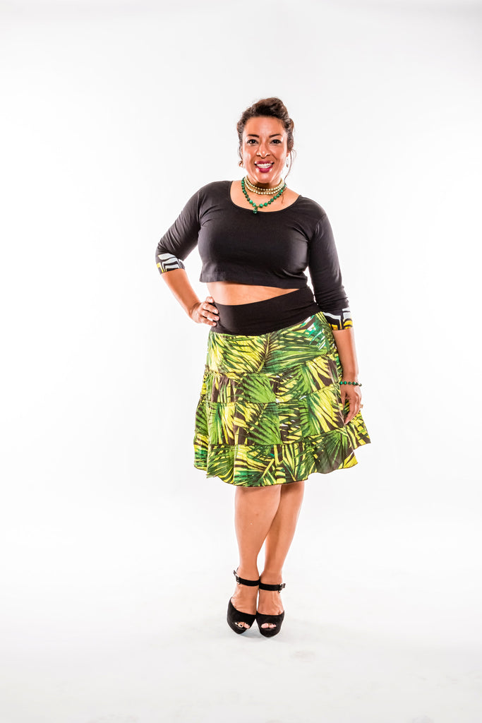 High Waisted Palm Tree Midi Skirt - Kapy Bash Mode