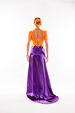 Floor Length Silk W Lace Dress