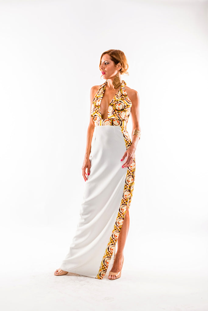 Plunging Side Slit Maxi Dress - Kapy Bash Mode