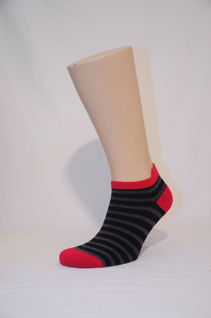 Unisex Gray Striped Ankle Sock - Kapy Bash Mode