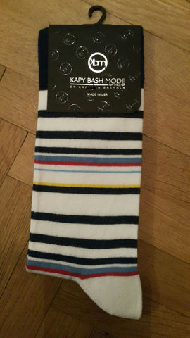 UNISEX White Striped Sock - Kapy Bash Mode
