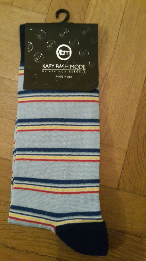 UNISEX blue Striped Sock - Kapy Bash Mode