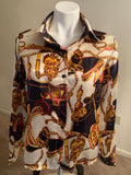Abstract Print Polyester Blouse