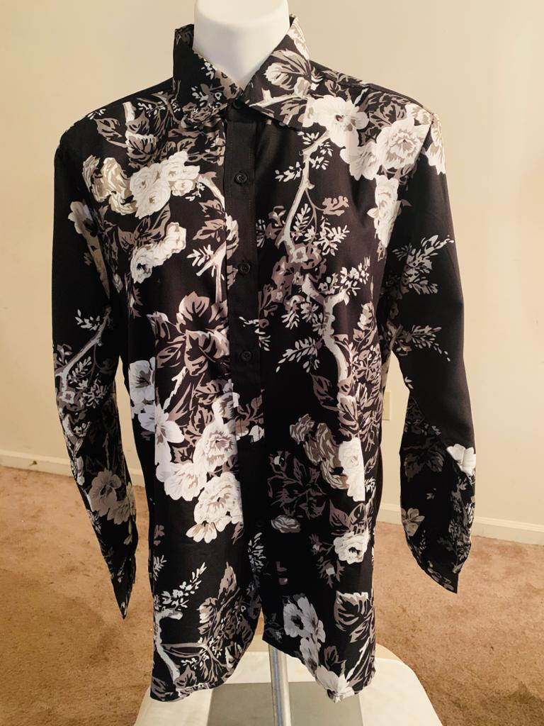 Long-Sleeve Polyester Button Down