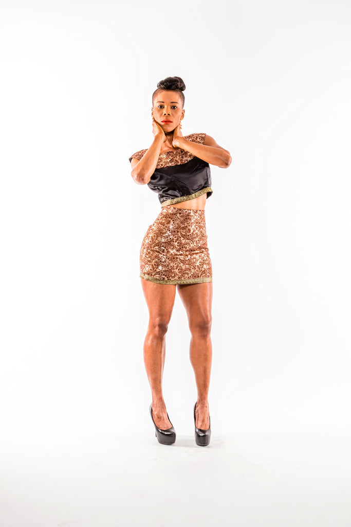 Gold High waisted skirt and crop top set - Kapy Bash Mode