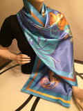 Turquoise Women's Square Satin Scarf - Kapy Bash Mode