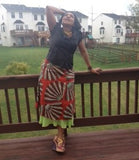 Red Brown and Beige African Print Skirt - Kapy Bash Mode